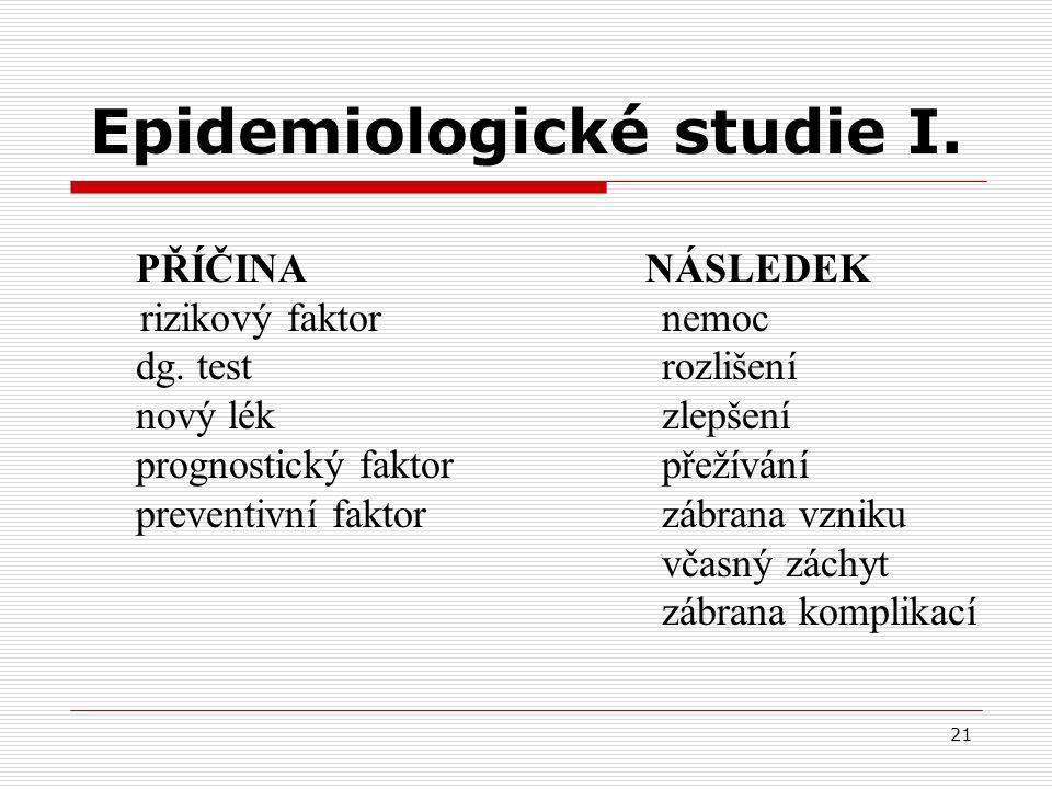 Epidemiologické studie I.