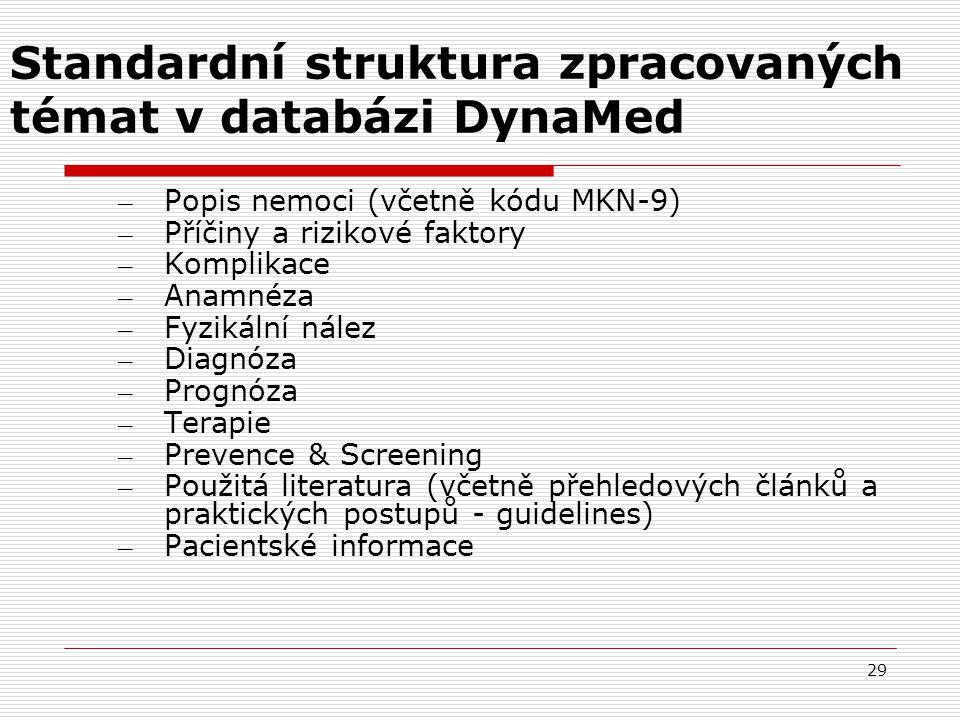 Standardní struktura zpracovaných témat v databázi DynaMed