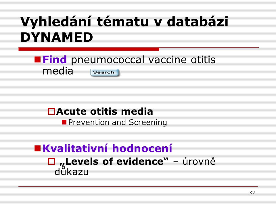 Vyhledání tématu v databázi DYNAMED