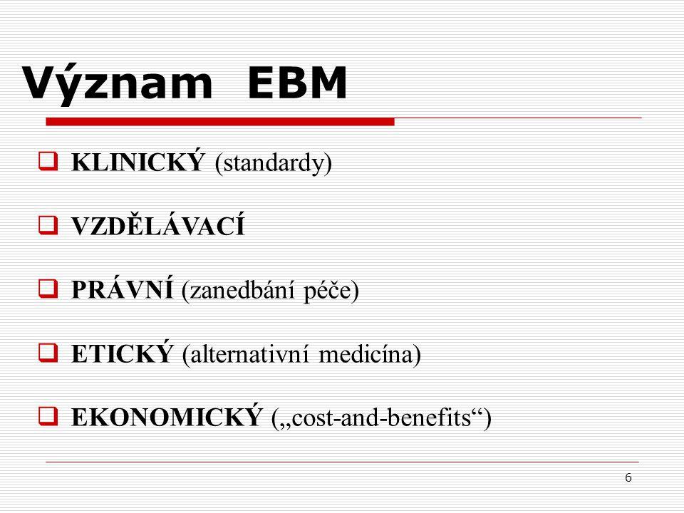 Význam EBM KLINICKÝ (standardy) VZDĚLÁVACÍ PRÁVNÍ (zanedbání péče)