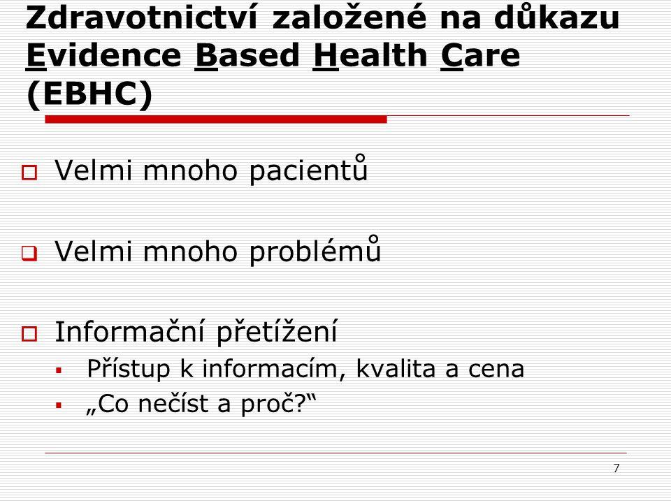 Zdravotnictví založené na důkazu Evidence Based Health Care (EBHC)