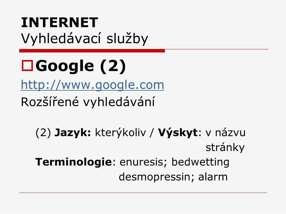 INTERNET Vyhledávací služby