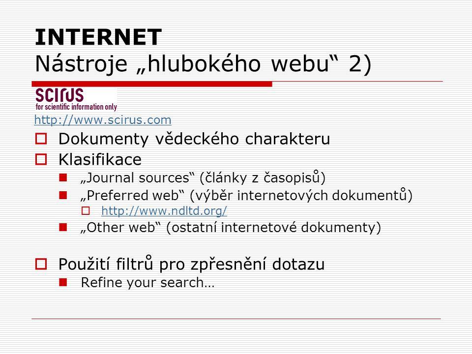 """INTERNET Nástroje """"hlubokého webu 2)"""