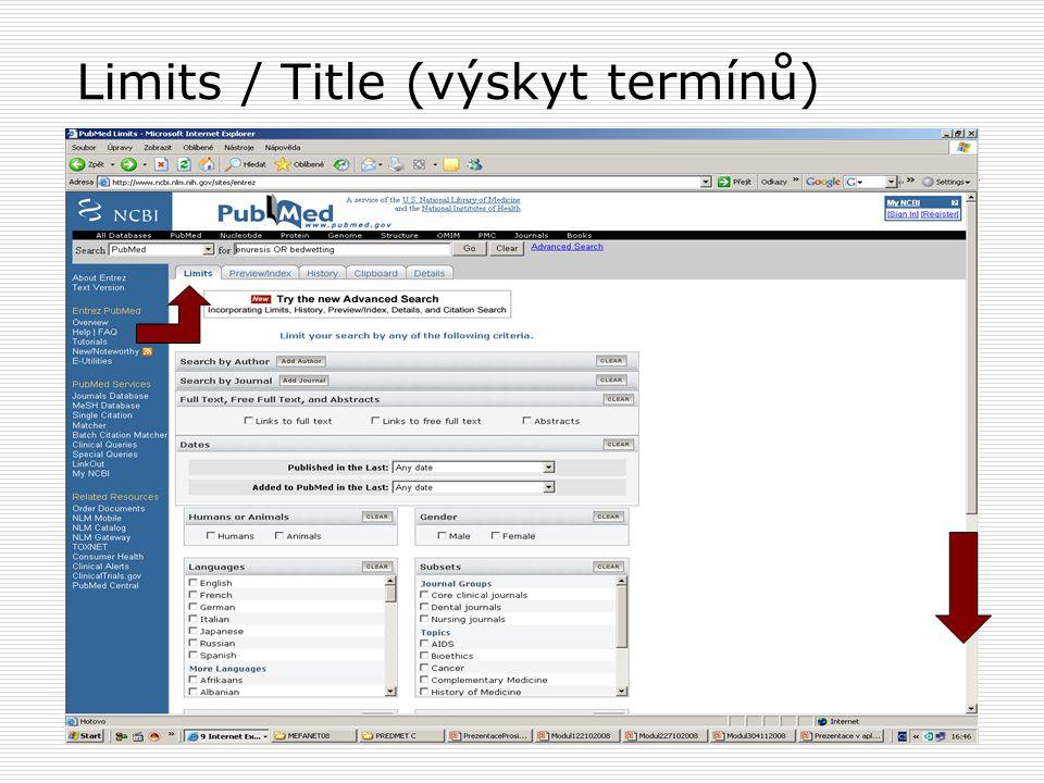 Limits / Title (výskyt termínů)