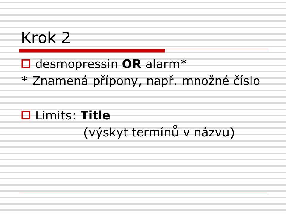Krok 2 desmopressin OR alarm* * Znamená přípony, např. množné číslo