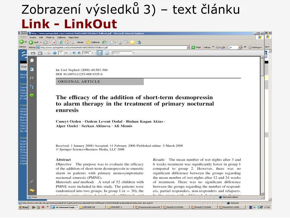 Zobrazení výsledků 3) – text článku Link - LinkOut