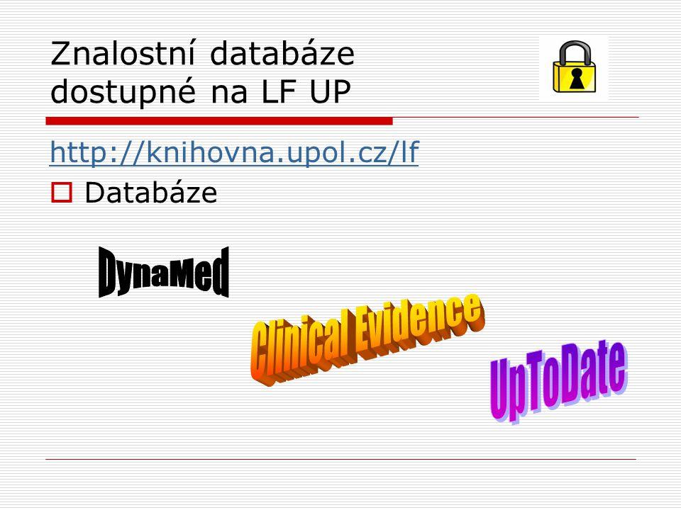 Znalostní databáze dostupné na LF UP