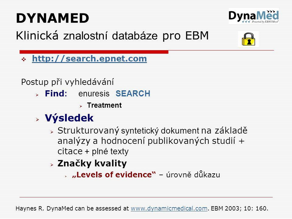 DYNAMED Klinická znalostní databáze pro EBM
