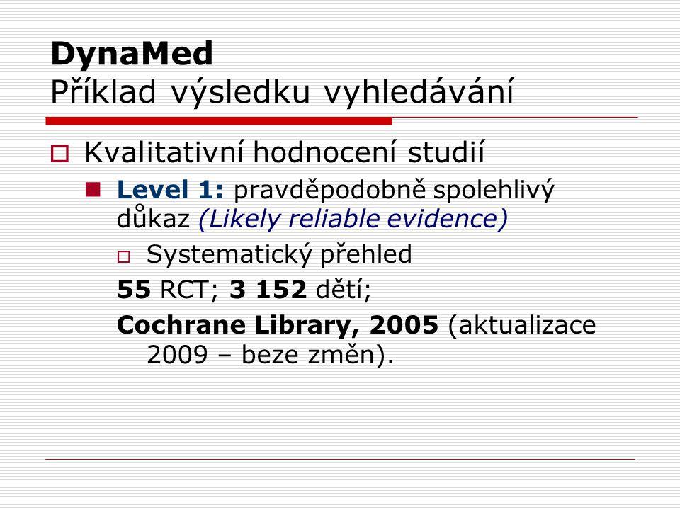 DynaMed Příklad výsledku vyhledávání