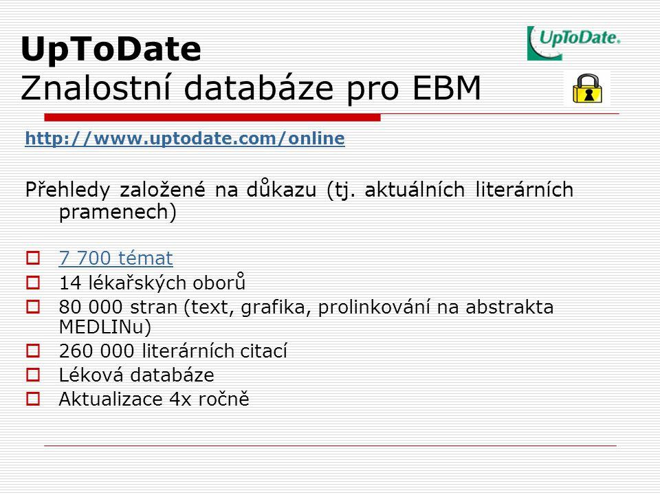 UpToDate Znalostní databáze pro EBM