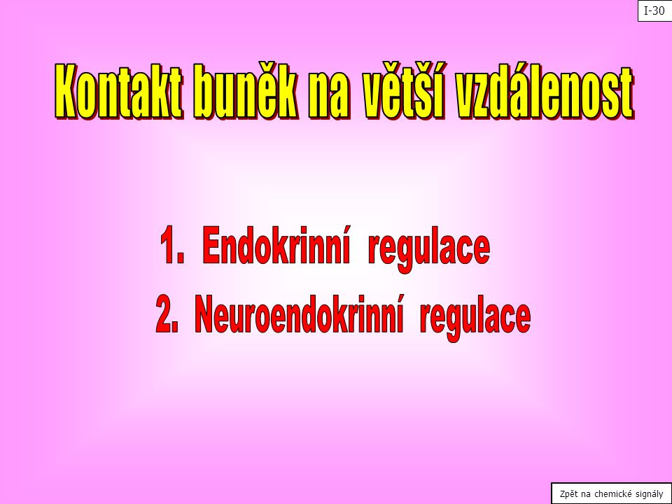 Kontakt buněk na větší vzdálenost 2. Neuroendokrinní regulace