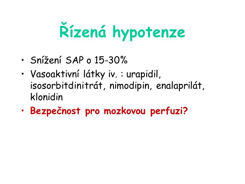 Řízená hypotenze Snížení SAP o 15-30%