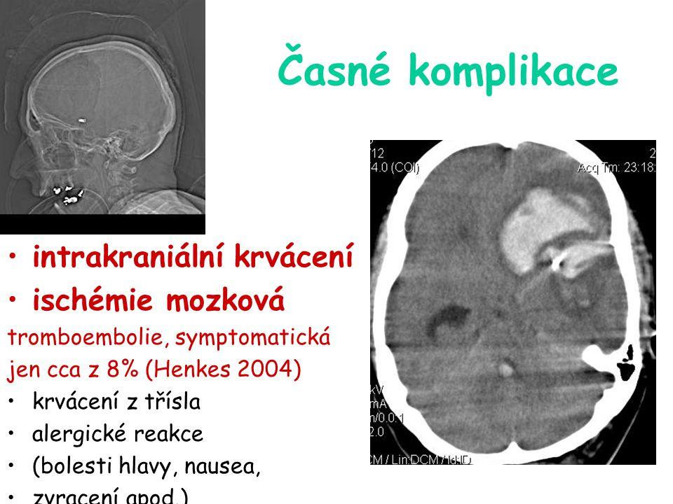 Časné komplikace intrakraniální krvácení ischémie mozková