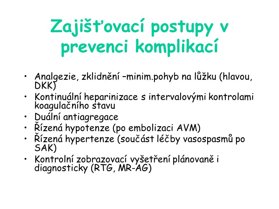 Zajišťovací postupy v prevenci komplikací