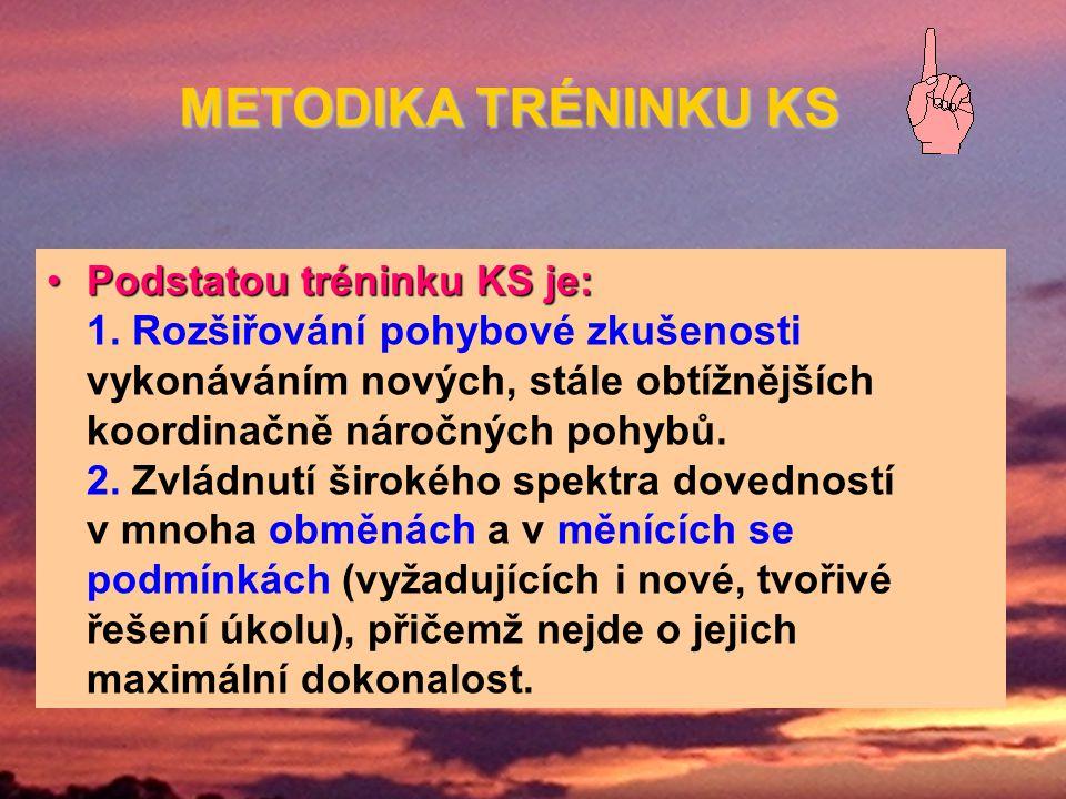 METODIKA TRÉNINKU KS Podstatou tréninku KS je: