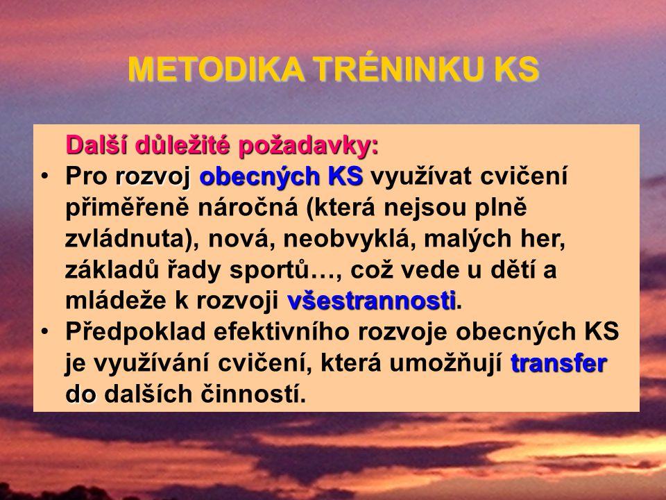 METODIKA TRÉNINKU KS Další důležité požadavky: