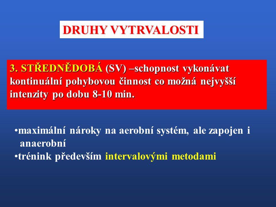 DRUHY VYTRVALOSTI STŘEDNĚDOBÁ (SV) –schopnost vykonávat kontinuální pohybovou činnost co možná nejvyšší intenzity po dobu 8-10 min.