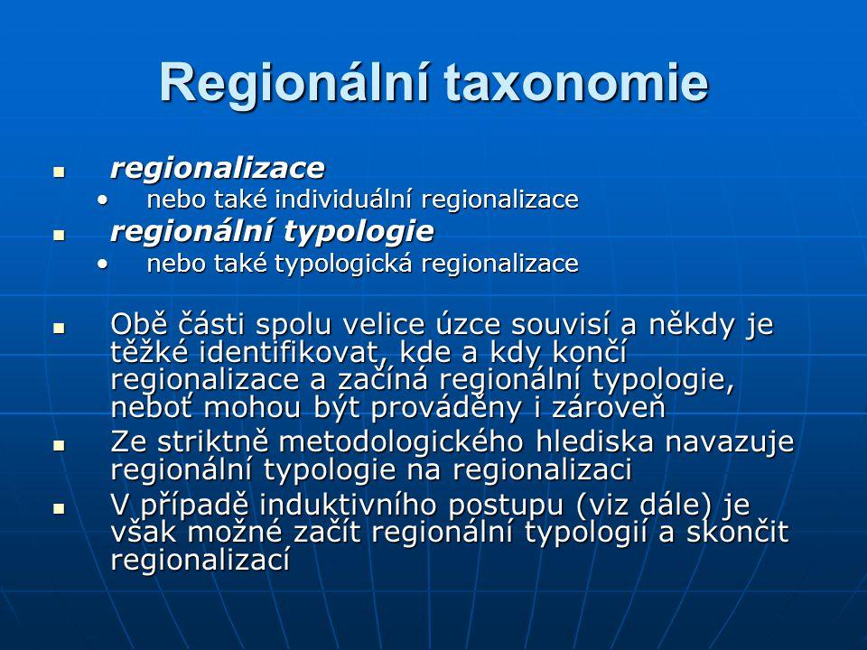 Regionální taxonomie regionalizace regionální typologie