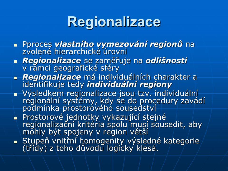 Regionalizace Pproces vlastního vymezování regionů na zvolené hierarchické úrovni. Regionalizace se zaměřuje na odlišnosti v rámci geografické sféry.