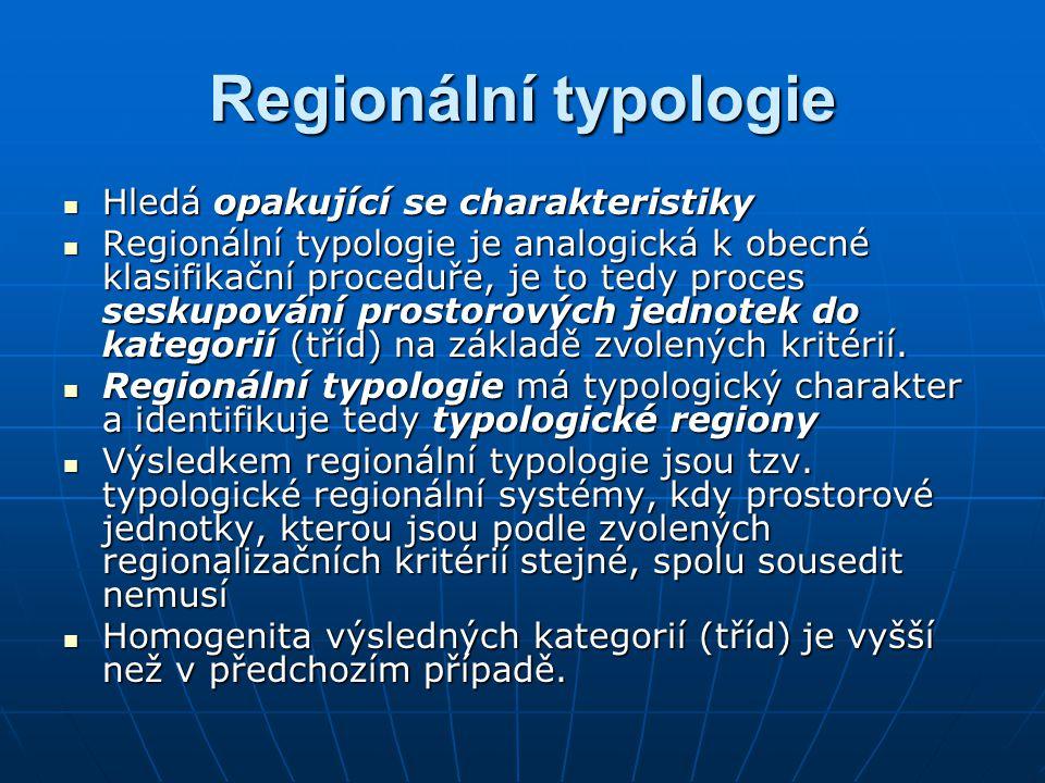 Regionální typologie Hledá opakující se charakteristiky