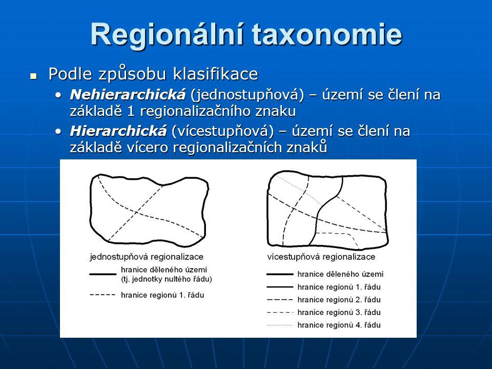 Regionální taxonomie Podle způsobu klasifikace