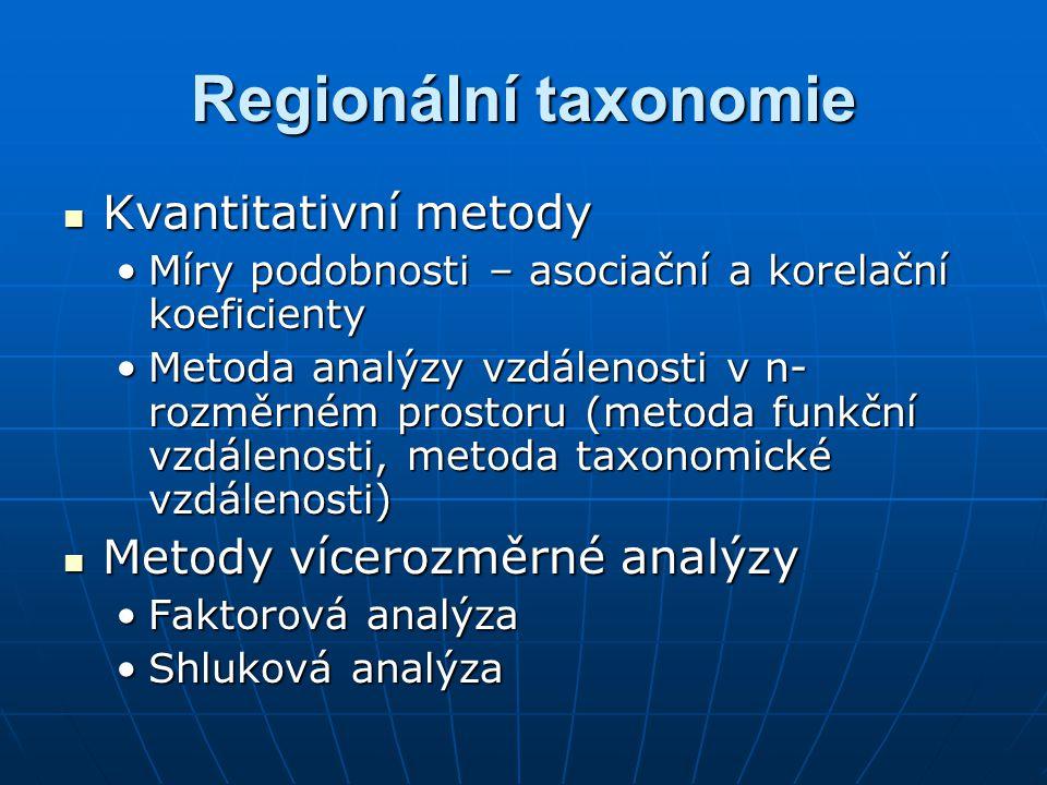 Regionální taxonomie Kvantitativní metody Metody vícerozměrné analýzy