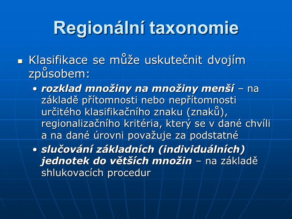 Regionální taxonomie Klasifikace se může uskutečnit dvojím způsobem: