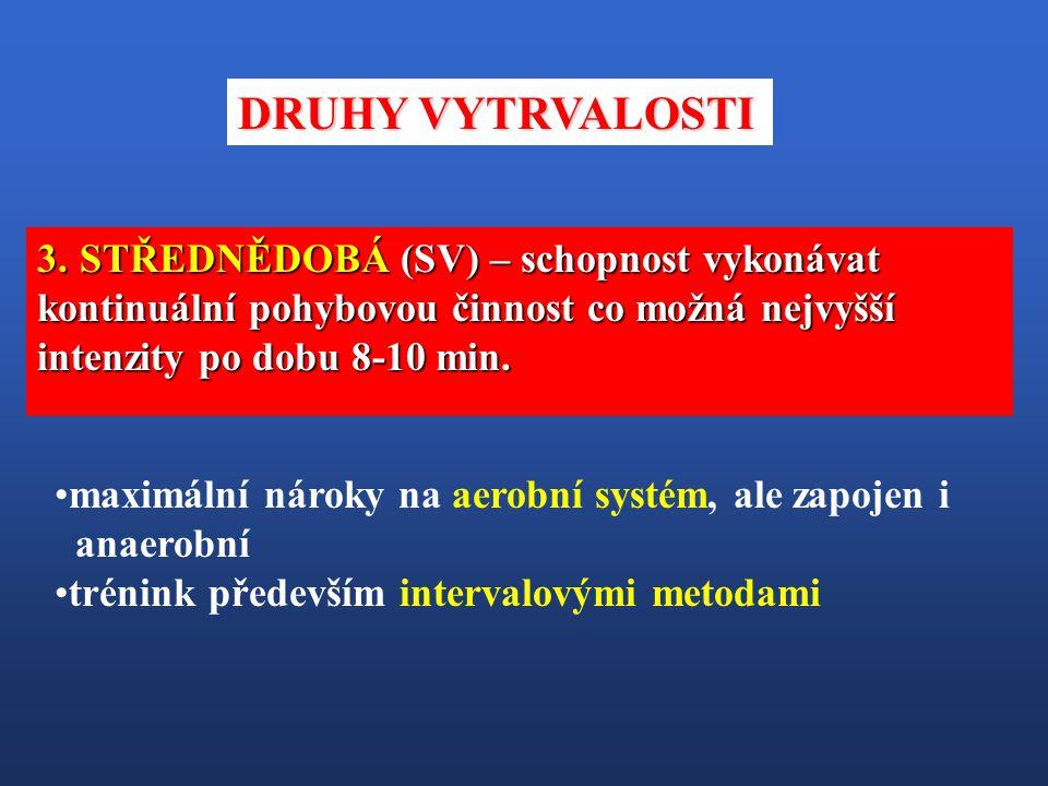 DRUHY VYTRVALOSTI STŘEDNĚDOBÁ (SV) – schopnost vykonávat kontinuální pohybovou činnost co možná nejvyšší intenzity po dobu 8-10 min.