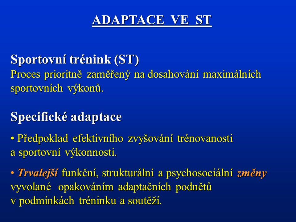 ADAPTACE VE ST Sportovní trénink (ST) Proces prioritně zaměřený na dosahování maximálních sportovních výkonů. Specifické adaptace.