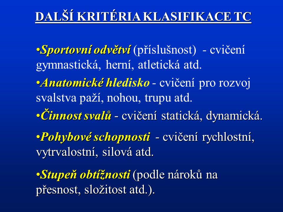 DALŠÍ KRITÉRIA KLASIFIKACE TC