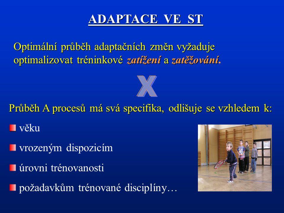ADAPTACE VE ST Optimální průběh adaptačních změn vyžaduje optimalizovat tréninkové zatížení a zatěžování.