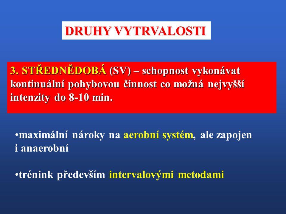 DRUHY VYTRVALOSTI STŘEDNĚDOBÁ (SV) – schopnost vykonávat kontinuální pohybovou činnost co možná nejvyšší intenzity do 8-10 min.
