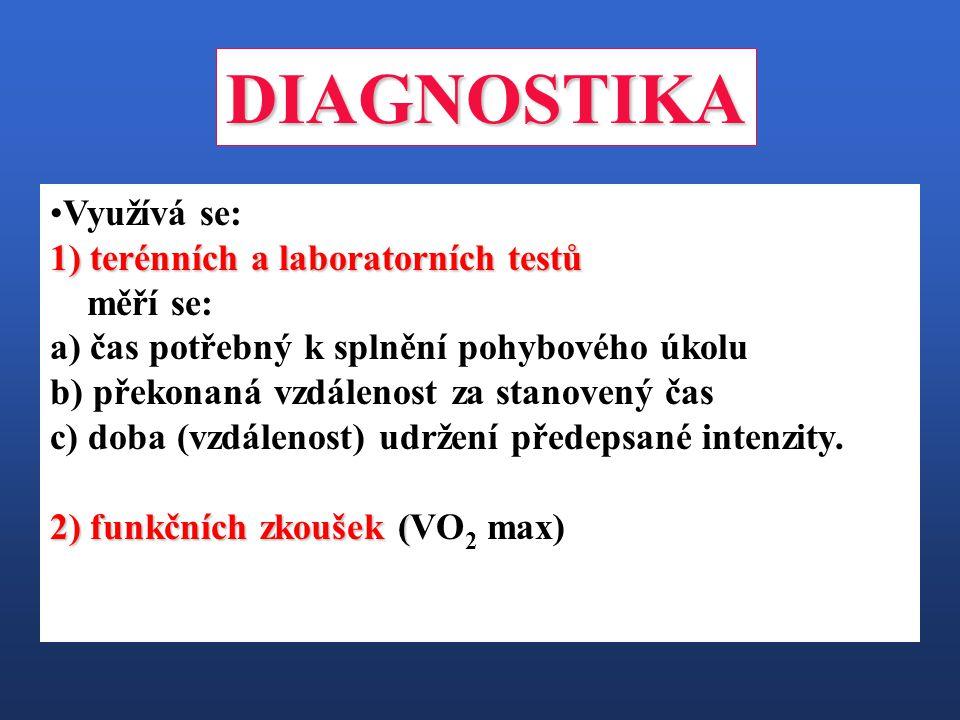 DIAGNOSTIKA Využívá se: 1) terénních a laboratorních testů měří se: