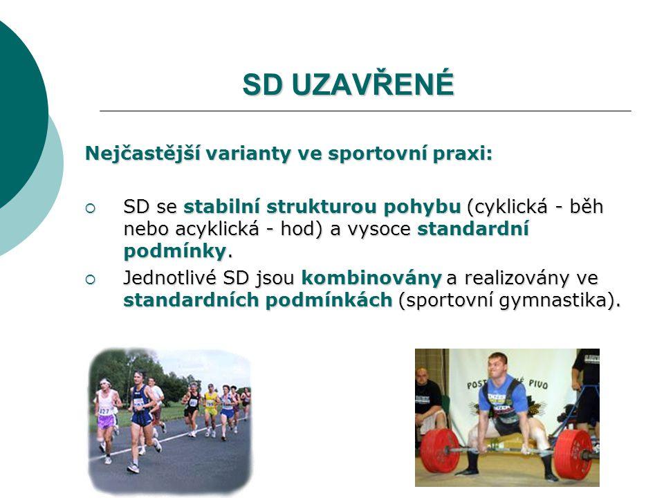 SD UZAVŘENÉ Nejčastější varianty ve sportovní praxi: