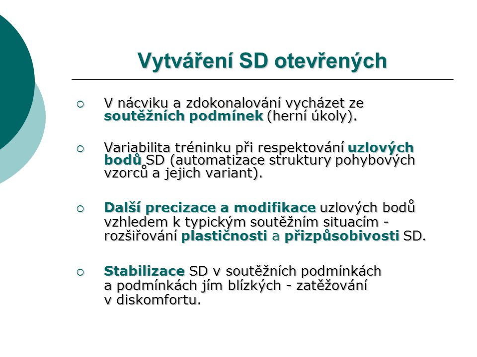Vytváření SD otevřených