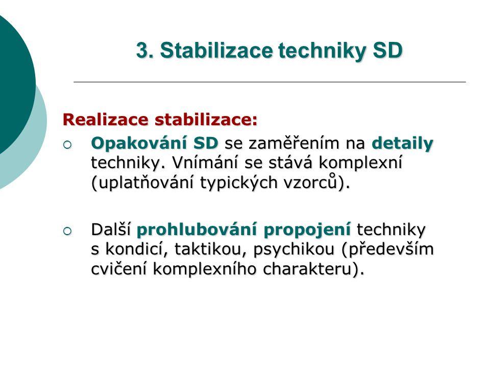 3. Stabilizace techniky SD