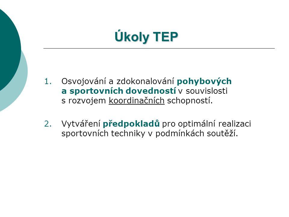 Úkoly TEP Osvojování a zdokonalování pohybových a sportovních dovedností v souvislosti s rozvojem koordinačních schopností.