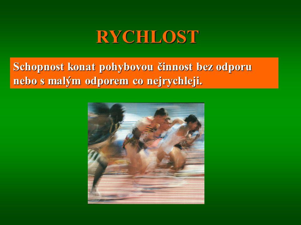 RYCHLOST Schopnost konat pohybovou činnost bez odporu nebo s malým odporem co nejrychleji.