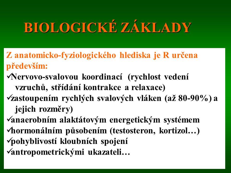 BIOLOGICKÉ ZÁKLADY Z anatomicko-fyziologického hlediska je R určena především: Nervovo-svalovou koordinací (rychlost vedení.