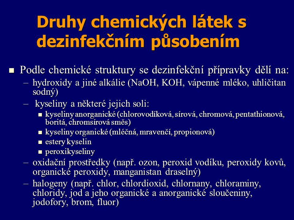 Druhy chemických látek s dezinfekčním působením