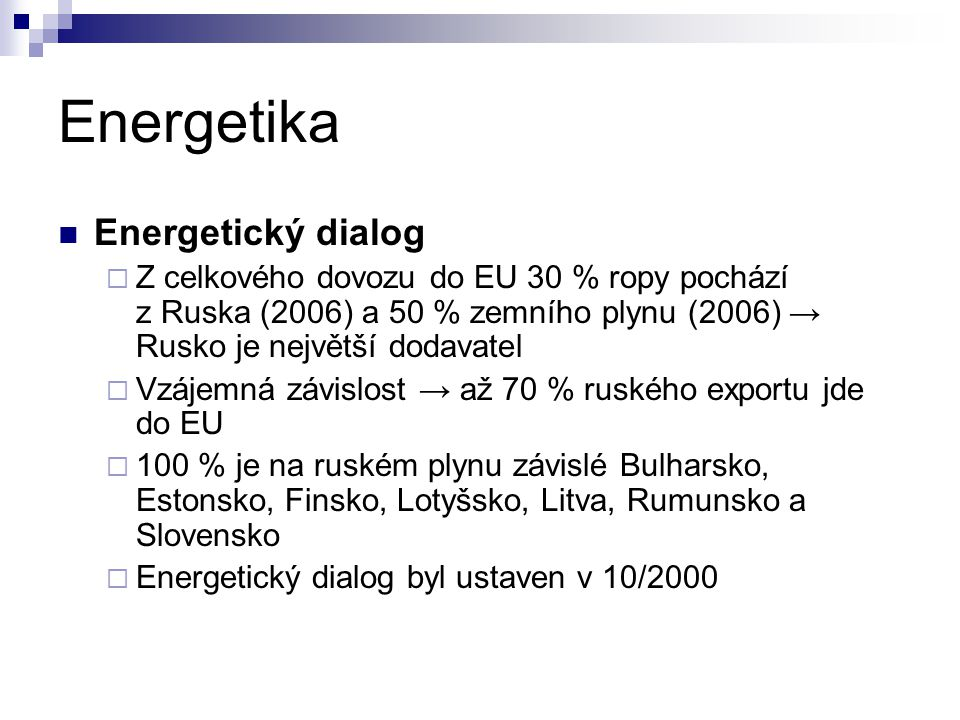 Energetika Energetický dialog