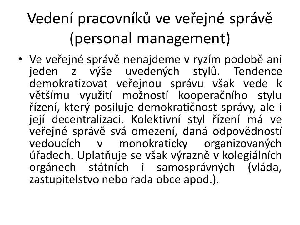 Vedení pracovníků ve veřejné správě (personal management)