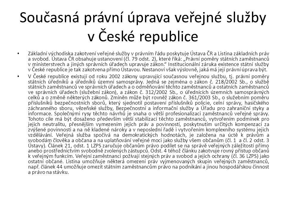 Současná právní úprava veřejné služby v České republice