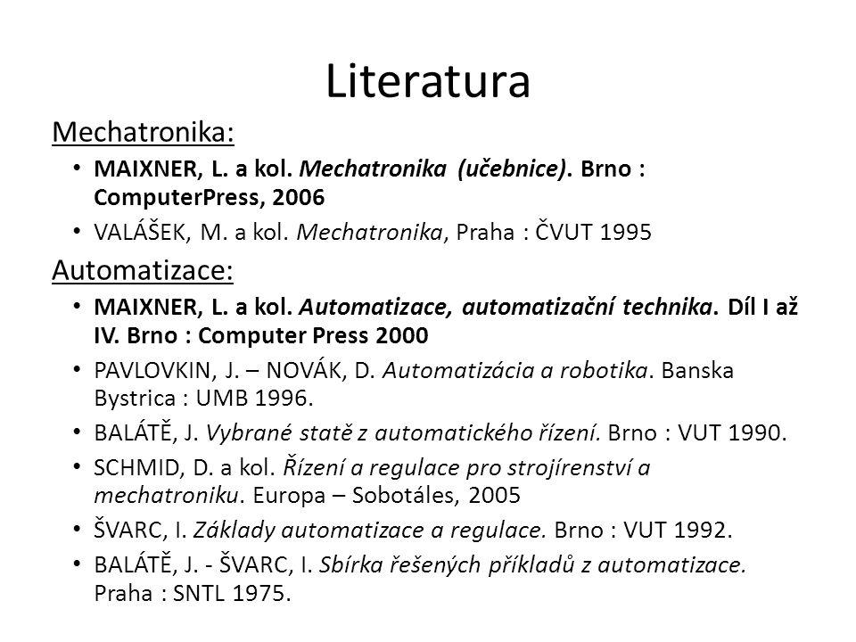 Literatura Mechatronika: Automatizace: