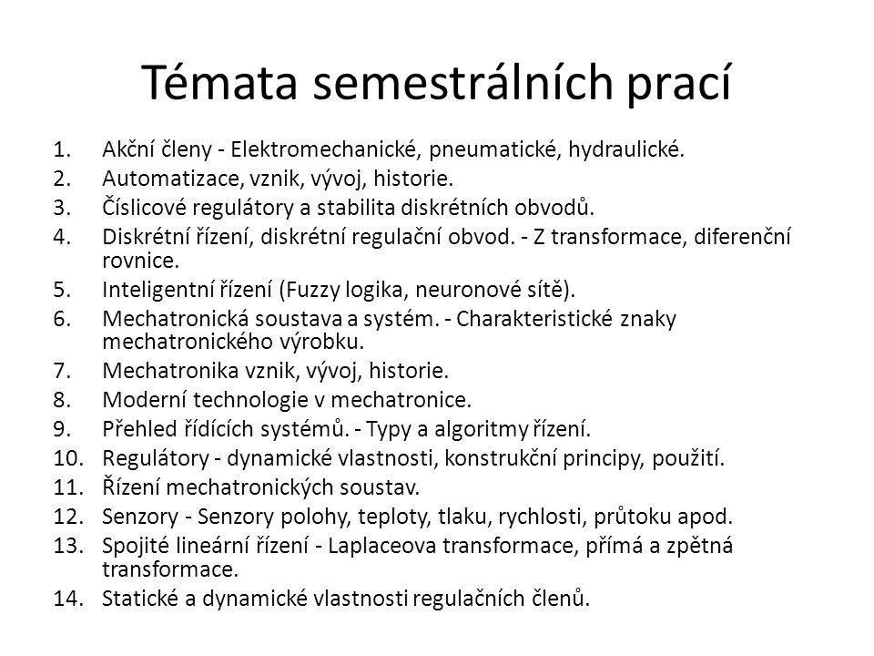 Témata semestrálních prací