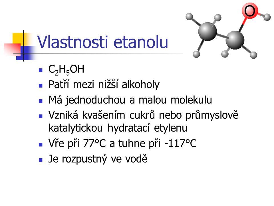 Vlastnosti etanolu C2H5OH Patří mezi nižší alkoholy