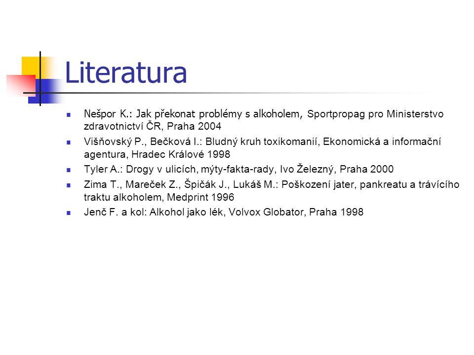 Literatura Nešpor K.: Jak překonat problémy s alkoholem, Sportpropag pro Ministerstvo zdravotnictví ČR, Praha 2004.