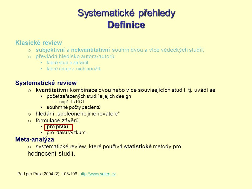 Systematické přehledy Definice