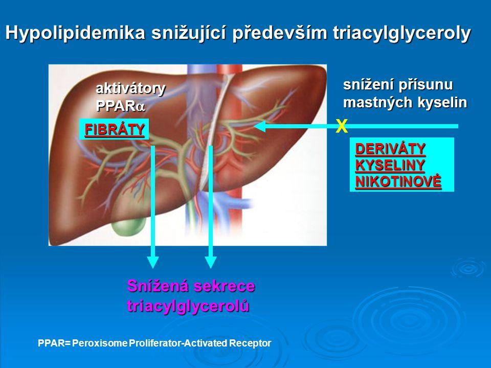 Hypolipidemika snižující především triacylglyceroly