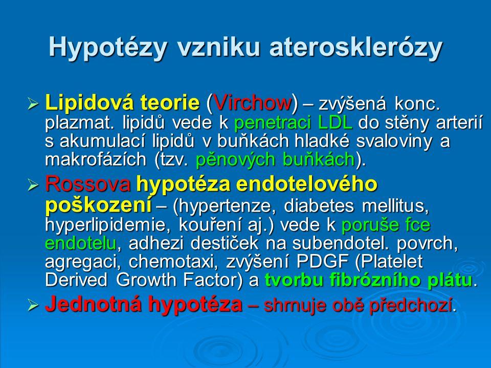 Hypotézy vzniku aterosklerózy